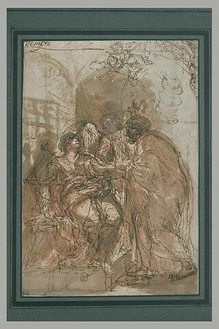 Saint Pierre accompagné d'un ange visitant sainte Agathe en prison