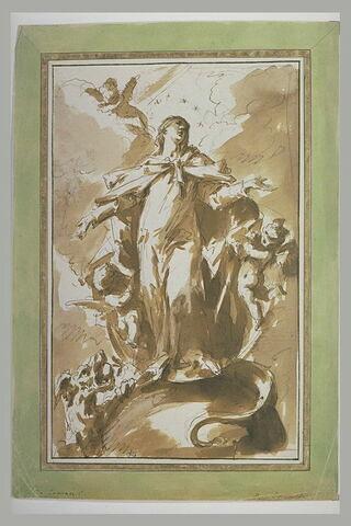 La Vierge debout sur un globe, et un monstre : Immaculée Conception (?)