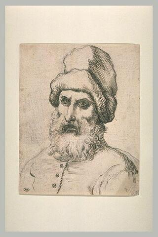 Buste d'homme barbu, portant un bonnet de fourrure