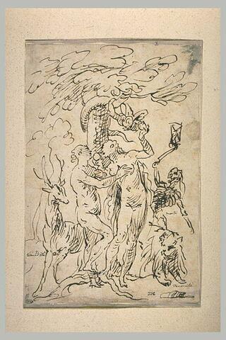 Adam et Eve près du serpent enroulé dans l'Arbre
