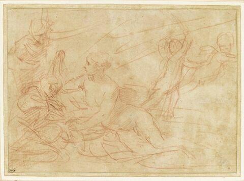 Femme nue étendue près de deux figures, et deux anges