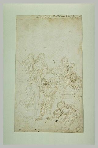 Femme debout entourée de ses servantes : Moïse sauvé des eaux ?