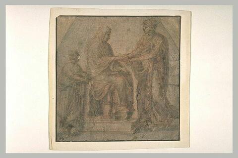 Figure debout devant une femme assise et une figure, d'après l'antique
