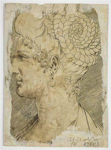 Gravure d'une tête de femme