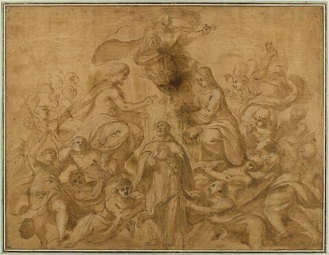 Saint Dominique reçu par la Sainte Trinité et la Vierge
