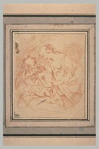 Joseph regardant Marie se pencher sur l'Enfant
