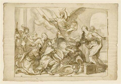 L'archange Raphaël quittant Tobie et sa famille en refusant leurs dons