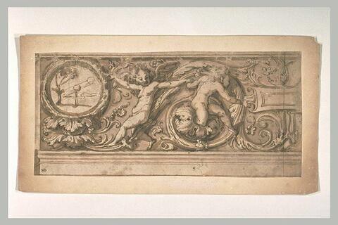 Frise avec feuilles d'acanthes avec deux putti et l'emblème Candor Illesus