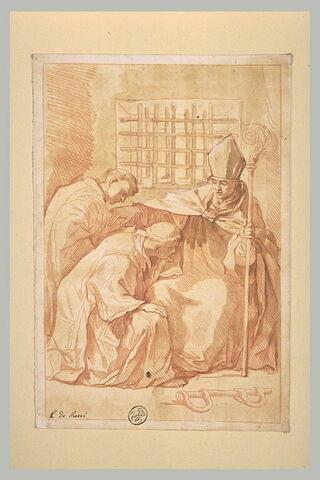 Saint Eutichele et Sosio se prosternant devant saint Janvier prisonnier