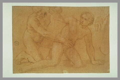 Deux figures agenouillés et reprise d'une main et d'un bras