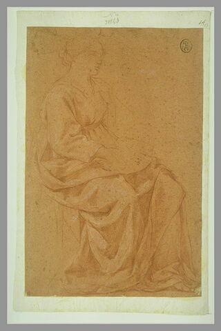 Etude d'une figure de femme drapée, assise, tournée vers la droite