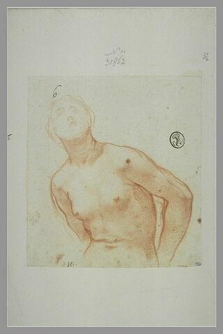 Femme nue, vue à mi-corps, les mains derrière le dos : sainte Bibiane
