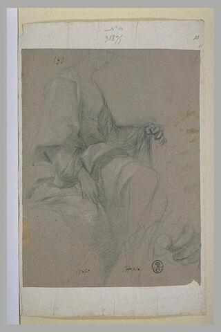 Etude d'une figure de femme drapée, assise, vue de profil