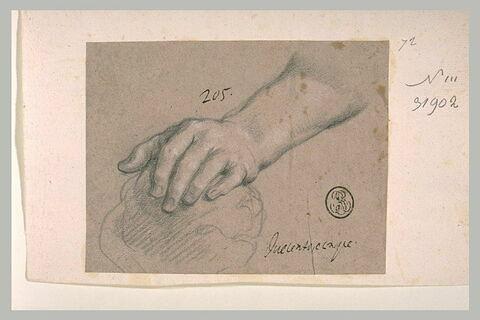 Etude d'une main appuyée sur une pierre