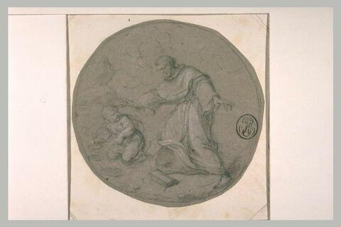 Saint Augustin et l'enfant vidant la mer dans un trou avec une coquille