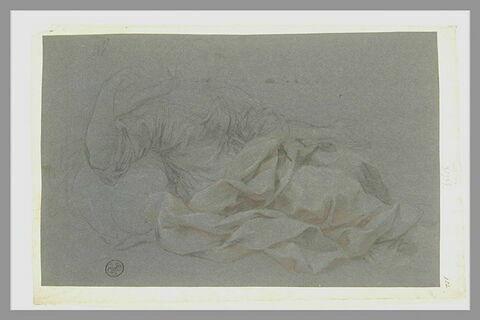 Figure drapée, assise, les bras écartés, tournée vers la droite : Agar