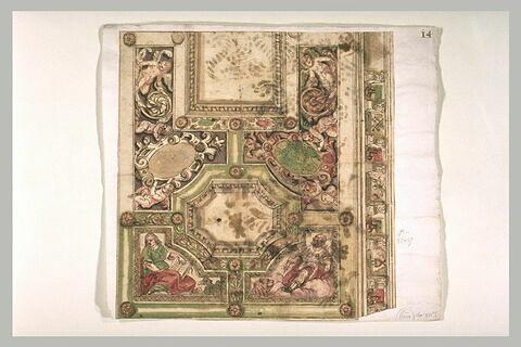 Décor de plafond à caissons, avec les évangélistes saint Jean et saint Marc