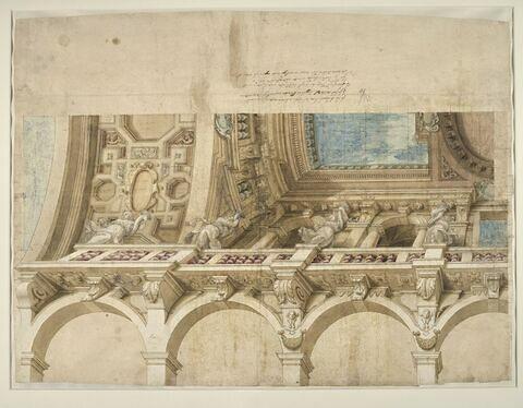 Etude d'un plafond surplombant une galerie à arcades