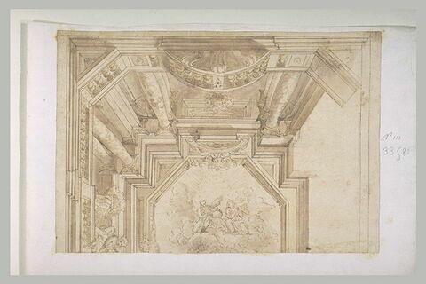 Etude d'une partie d'un plafond figurant une galerie