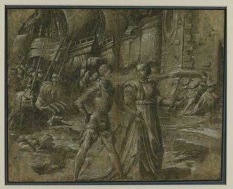 Dame conduisant un chevalier en armure devant une cité assiégée
