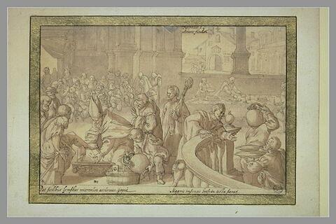 Saint Annon lave les pieds des pauvres et les nourrit