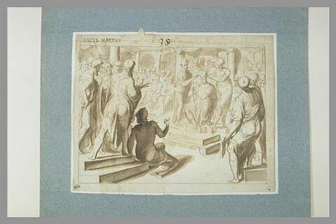 Plusieurs hommes semblant couronner Ancus Martius