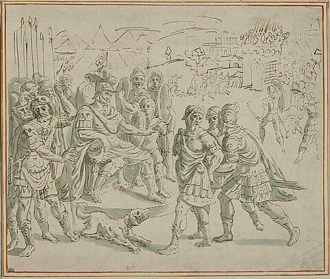 Un général captif conduit devant un chef ennemi