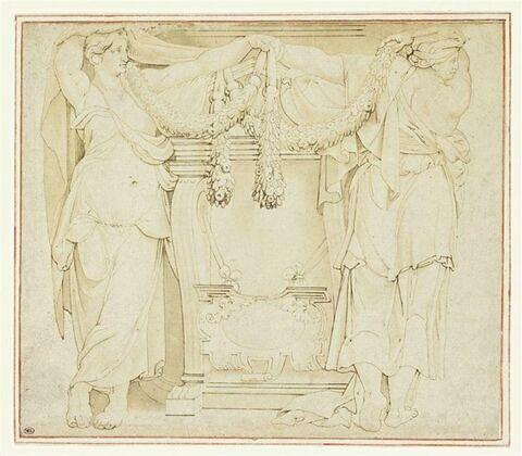 Etude de monument avec deux caryatides