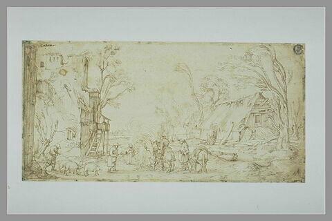 Paysage fermier avec maisons et plusieurs figures auprès d'un feu