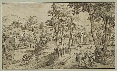 Paysage avec le Christ et les pélerins d'Emmaüs