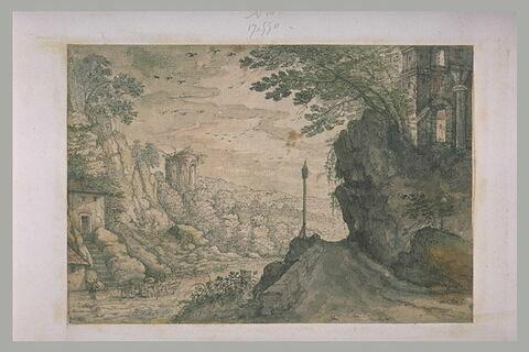 Vallée rocheuse et boisée, avec route animée d'un carosse