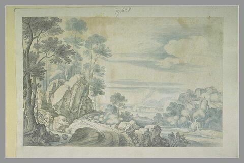 Paysage boisé avec une route et un ruisseau à gauche, des bâtiments à droite