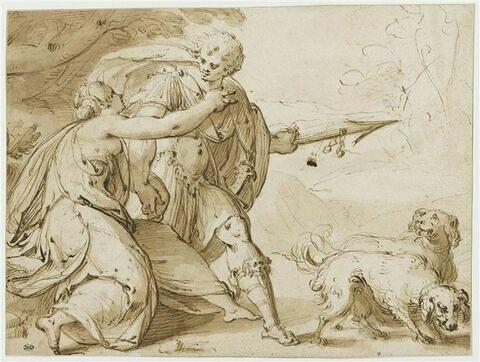 Vénus retenant Adonis partant pour la chasse