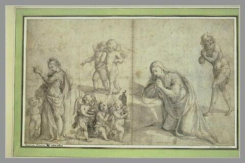 Etudes : femme et enfant, angelots, sainte Madeleine (?) et un homme barbu