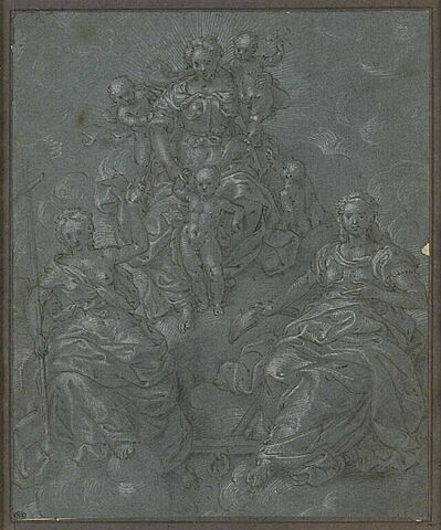 Les Vertus théologales, sous la figure de trois jeunes filles drapées