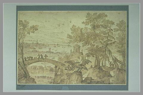 Iusta ultio : paysage avec un aigle dévorant un scorpion qui le pique