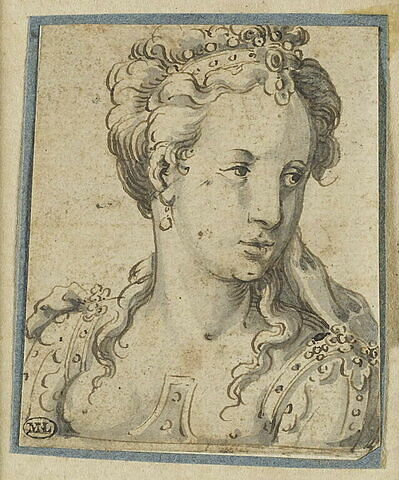 Tête de jeune femme portant un diadème
