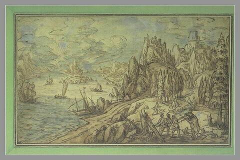 Paysage rocheux traversé par un large fleuve, avec une chasse à l'ours