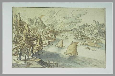 Paysage rocheux avec cinq galères sur un large fleuve