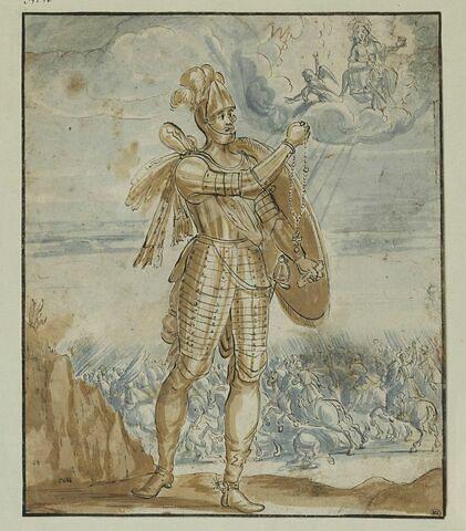La Vierge avec deux anges, apparaissant à un capitaine