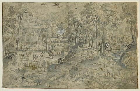 Vaste paysage boisé avec bâtisses, personnages et animaux