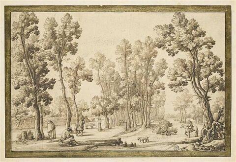 Paysage boisé animé de personnages avec, au centre, une allée d'arbres