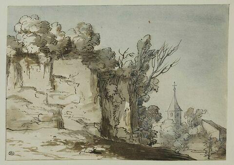 Paysage rocheux, avec clocher et maison