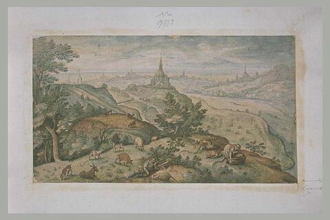 Paysage avec un troupeau, un berger et deux femmes