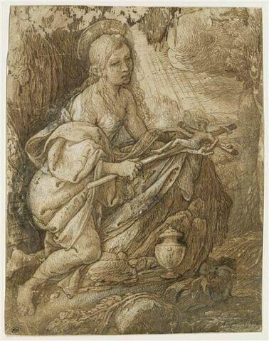 La Madeleine pénitente, à genoux dans une grotte