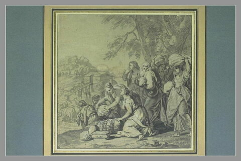 Noé et sa famille entrant dans l'arche avec les animaux