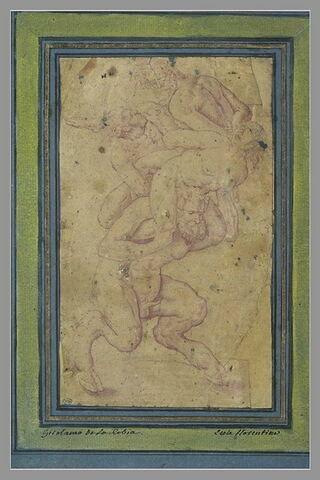 Un satyre portant sur ses épaules une nymphe, un jeune homme et un vieillard
