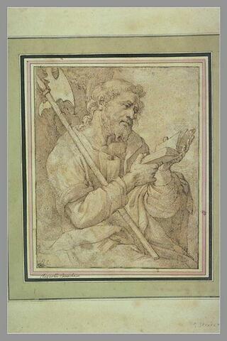 Saint Barthélemy assis et lisant