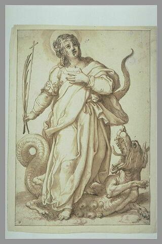 Sainte Marguerite debout, les pieds sur un dragon