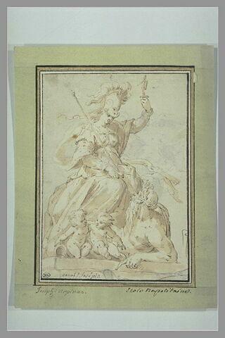 Minerve, deux enfants à ses pieds et la figure d'un Fleuve